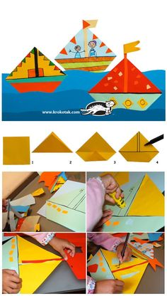 a Boats Collage with a little bit of Origami to start with.My Bonny is over the Ocean. Summer Crafts For Kids, Paper Crafts For Kids, Spring Crafts, Projects For Kids, Art For Kids, Arts And Crafts, Summer Kids, Diy Paper, Diy Projects
