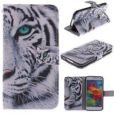 witte tijger ontwerp pu lederen full body case met kaartslot en staan voor Samsung i9600 s5 – EUR € 10.99