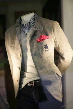 Linen Jacket, layered sweater over gingham shirt and jeans... Instant classic!