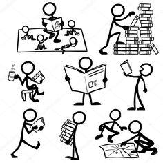Скачать - Набор фигур stick чтения — стоковая иллюстрация