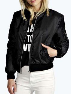 Black Zipper Detail Long Sleeve Bomber Jacket | Choies