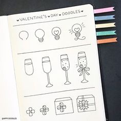 Cute valentine's day doodles step by step doodles bullet journal doodles. Bullet Journal Writing, Bullet Journal Notebook, Bullet Journal Aesthetic, Bullet Journal Ideas Pages, Bullet Journal Inspiration, Valentines Day Doodles, Valentines Day Drawing, Doodle Art For Beginners, Easy Doodle Art