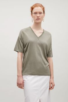 COS  Knitted v-neck top in Khaki Green