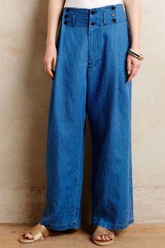 Mes Demoiselles...Paris Buttoned-Up Linen Wide-Legs SS 2015