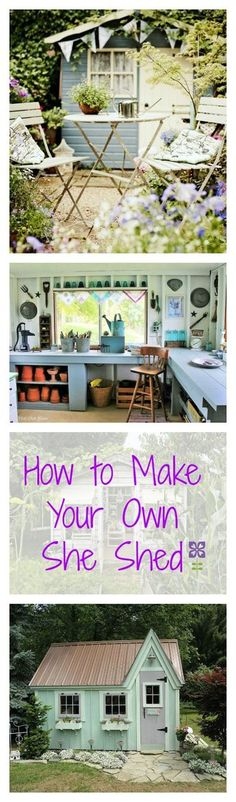 """If you have a neglected potting shed in your backyard, you're in luck—we've rounded up all the DIY decorating inspiration you need to turn it into an adorable """"she shed"""" backyard hideaway!"""