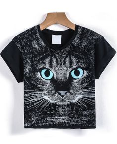 Camiseta Crop gato manga corta-negro $MXN231.40
