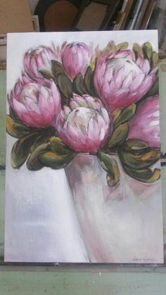 Yogi's proteas - oil on canvas - Melissa Von Brughan Mini Canvas Art, Abstract Canvas Art, Oil Painting Abstract, Acrylic Art, Oil Paintings, Abstract Flowers, Watercolor Flowers, Watercolor Art, Painting Flowers