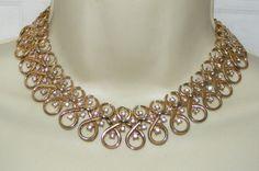 Vintage TRIFARI wide goldtone & Rhinestone Collar NECKLACE costume jewelry #Trifari #collarnecklace