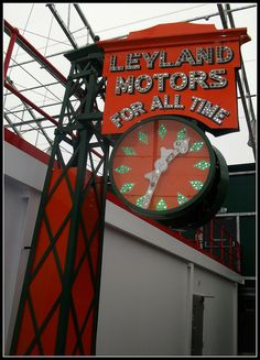 Leyland Motors vintage roadside clock, seen at London bus museum, Brooklands.