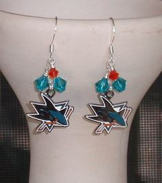 San Jose Sharks Inspired Circle The Ice Earrings #sjsharks #onlineshopping https://itunes.apple.com/us/app/blisslist-easy-shopping-gifting/id667837070