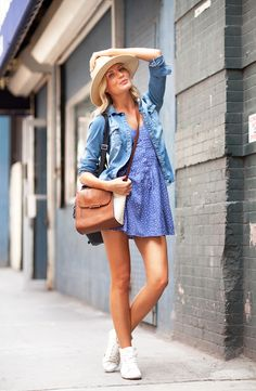 Chambray and summer dress #blue #brown #bag