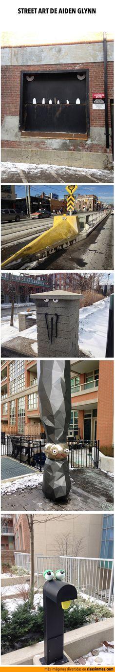 Street Art con ojos móviles. Imágenes por Aiden Glynn.