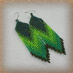Green Fringe earrings , Ethnic style , Long beads earrings , tribal style , boho style , Native American Beaded Earrings Gift