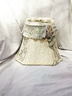 Fabric lace hand made lampshade / Romantic by BlueSilverVintage