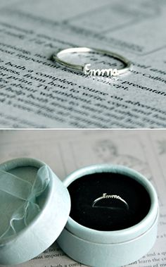 Love this....someday Chad and I will have our little Emma!! sterling silver ring your child's name