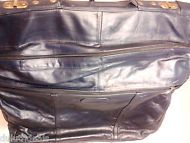 Vintage Navy Dark Blue Leather Travel Bag Garment Bag