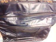 Vintage Navy Dark Blue Leather Travel Bag Garment Bag