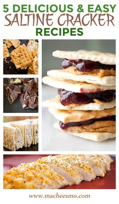 Five Saltine Cracker Recipes! Saltine crackers are one of my favorite quick snacks. Whether you are craving sweet or savory, you can find a quick cracker solution. Recipes include Firecracker snacks, PB&J crackers, ice cream crackers, crusted baked chicken, and saltine cracker brickle!