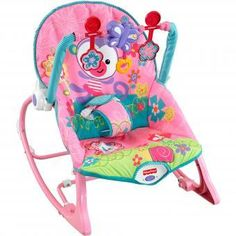 Silla Mecedora Vibradora Para  Bebe Crece Conmigo Girls' Fisher Price CDG10-Rosado