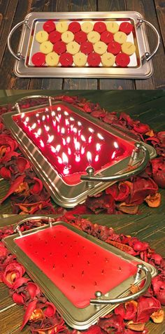 Line a metal tray with tealights, melt them, then blow out. Makes a large candle tray you can use as a display for Valentine's Day! Re-light when it's time to celebrate.