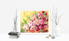 Floral Oil Painting Original Artwork Flowers by SCSArtGallery