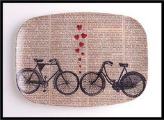 Bike Lovers Bicycle Hearts Art on 10 x 14 Melamine Platter