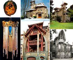 Hector Guimard's jewelry, lighting and architecture: La Maison Coillot, Lillie; Ceramique Coillot, Rue Fleurus; Villa Hemsy, St. Cloud