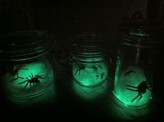 Halloween glowing spider jars.