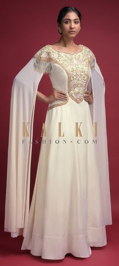 Off White Indowestern Gown With Extended Floor Length Sleeves And Thread Embroidery Online - Kalki Fashion Anarkali, Lehenga, Indowestern Gowns, Embroidery Online, Cotton Silk, Long Dresses, Indian Wear, Salwar Kameez, Evening Gowns