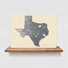 Vintage-inspired black and white Texas state map art print by Maps As Art #texas #map