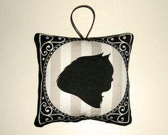 "Cat silhouette ornament in fabric - Persian cat - 3.5"" square $7.00"