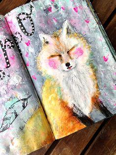 <3 <3 < 3 Fox art journal page , zorro en art journal