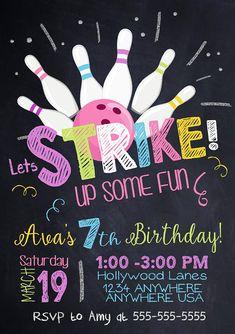 Bowling invitation Bowling birthday invitation  Bowling
