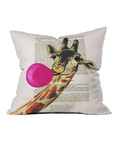 This Giraffe  Bubble Gum Throw Pillow by DENY Designs is perfect! #zulilyfinds