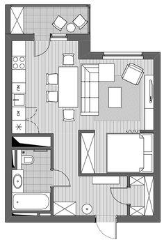 План перепланировки однокомнатной квартиры