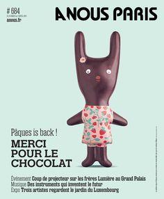 Notre Lapin d'avril en chocolat à la une de A Nous Paris, création Mini labo pour Mazet