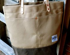Waxed Canvas Tote Bag with Leather Handles  by RiegelGoodsCompany