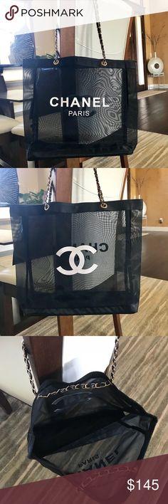 b0f1c36be6e6 Chanel VIP Mesh Tote Bag Gold-tone Chain Chanel Black Mesh VIP gift tote.
