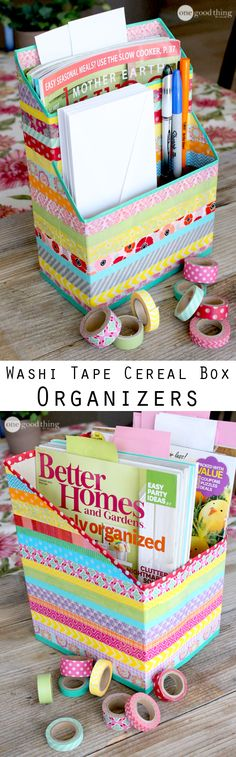 I knew I would eventually find a use for all that washi tape I have in my craft closet! Washi tape turned ordinary cereal boxes into these beautiful organizers! You'll be delighted at how easy and fu(Manualidades Diy Organizers) Washi Tape Crafts, Duck Tape Crafts, Washi Tapes, Fun Crafts, Diy And Crafts, Paper Crafts, Upcycled Crafts, Diy Paper, Cereal Box Organizer