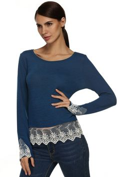 Meaneor Stylish Ladies Women O Neck Long Sleeve Lace Patchwork Slim Casual Top Shirt Blouse_Tees / T-shirt_Women_Women's Fashion Zone & Best Price Clothes