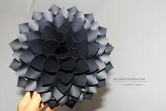 paper dahlia . texture black card stock -by mycrazyhands.com