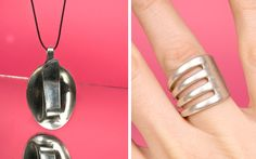 RING AND NECKLACE MADE OF CUTLERY. Jewelry - Elin Hedlund design studio