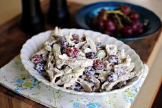 sonoma chicken salad. 1 cup mayonnaise,  4 tsps apple cider vinegar, 6 tsps honey,  2 tsps poppy seeds, salt, black pepper, 3 cups shredded chicken, 3/4 cup toasted chopped pecans, 1 cup dried cranberries (or grapes), 1 golden delicious apple (or celery)