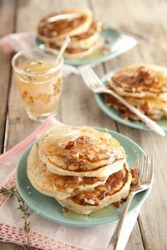 Ricotta Infused Pancakes and Thyme Syrup