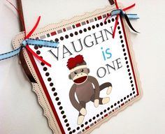 Sock Monkey Welcome Door Sign Personalized for Kids Party Celebration. Who doesn't love Sock Monkey? The sock monkeys are sure to bring a smile to a child's face or any adult, I'd say! Let's welcome your guests with this cute Sock Monkey Welcome Door Sign. It's personalized for you with text that you provide. This one is made for a boy's birthday but I can do one for a girl's party as well. Sock Monkey is a popular theme for birthday as well as baby shower.