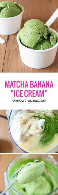"Matcha Banana ""Ice Cream"" **use honey instead of condensed milk. - taste more like bananas instead of matcha green tea Green Tea Recipes, Cream Recipes, Vegan Recipes, Cooking Recipes, Vegan Food, Smoothies Vegan, Green Smoothies, Matcha Green Tea Smoothie, Vegan Ice Cream"