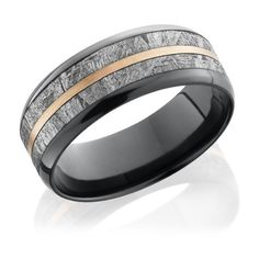 Lashbrook Zirconium Polished 8mm Flat Beveled Edge Meteorite Band ($1,647) ❤ liked on Polyvore featuring men's fashion, men's jewelry, men's rings and mens band rings