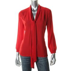 JUICY-COUTURE-NEW-Red-Chiffon-Tie-Front-Pullover-Top-Blouse-S-BHFO