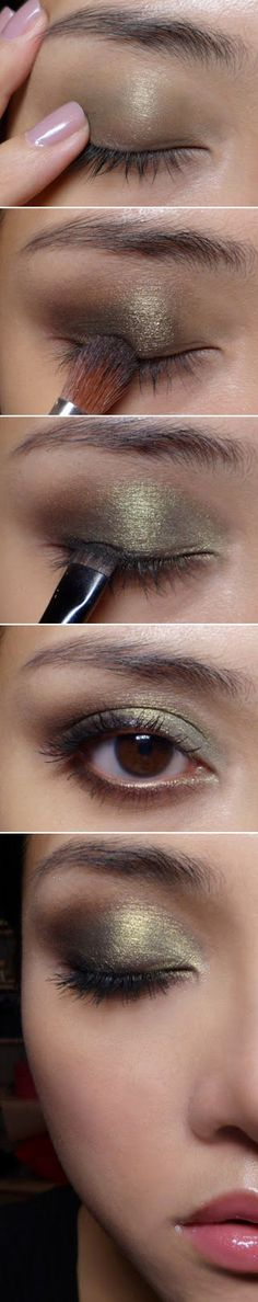 Dark Golden Olive Eyeshadow Tutorial - I've got lots of olive drab colors in my collection to make this look work :)