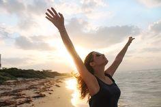 ビーチ, 太陽, 自由, 日没, ヤシの木, 風景, 女性, メリダ